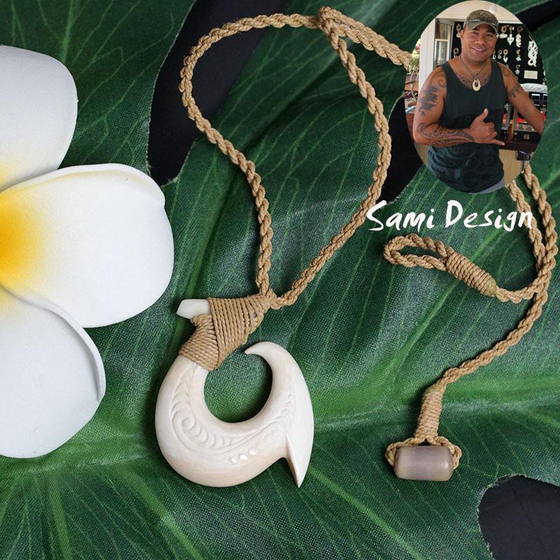 フィッシュフック ハワイアンジュエリーSami Design 1点モノ【再入荷無し】Oval ハワイの伝統的貴重な素材の骨