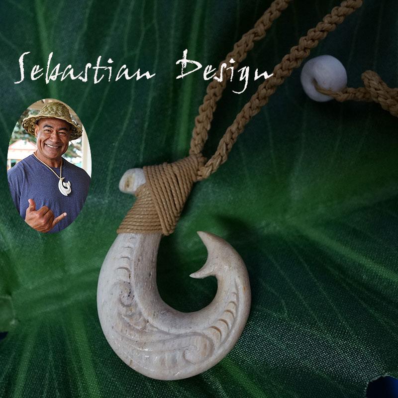 フィッシュフック ハワイアンジュエリーSebastian Design 1点モノ【再入荷無し】フック S ハワイの伝統的貴重な素材の骨