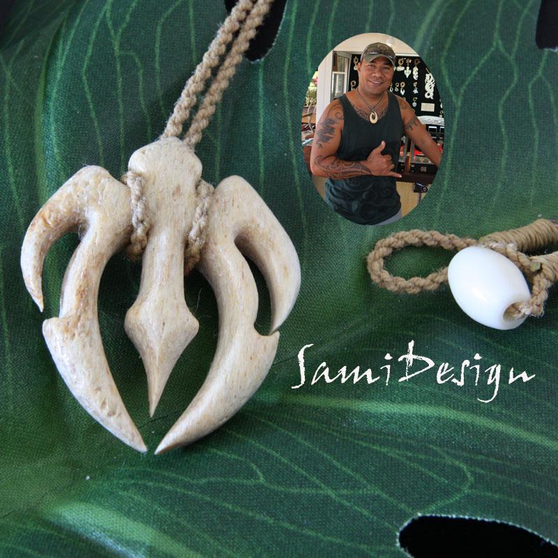 フィッシュフック ハワイアンジュエリーSami Design 1点モノ【再入荷無し】Small Honu Arrow ハワイの伝統的貴重な素材の骨
