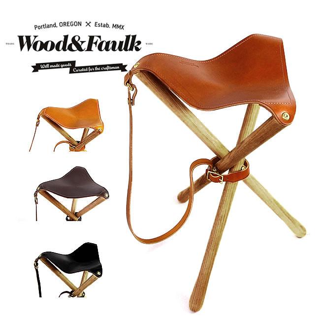 キャンプスツール Wood & Faulk / ウッドアンドフォークCamps Stool スツール ブライドルレザーを使用した上質ハンティングチェア アウトドアにも最適 Made in USA