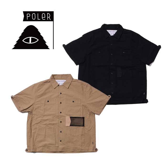 ポーラー 半袖シャツ POLeR [ COTTON RIP KEROUAC OPEN COLLAR SHIRT ] オープンカラーシャツ 開襟 [0330]