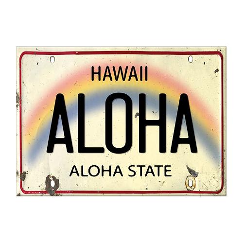 ハワイ直輸入!おしゃれなマグネット! 【ハワイアンアート マグネット】<Aloha License Plate(ハワイナンバープレート・ライセンスプレート)>ハワイアン雑貨・磁石・日用品雑貨・文房具・事務用品・お土産