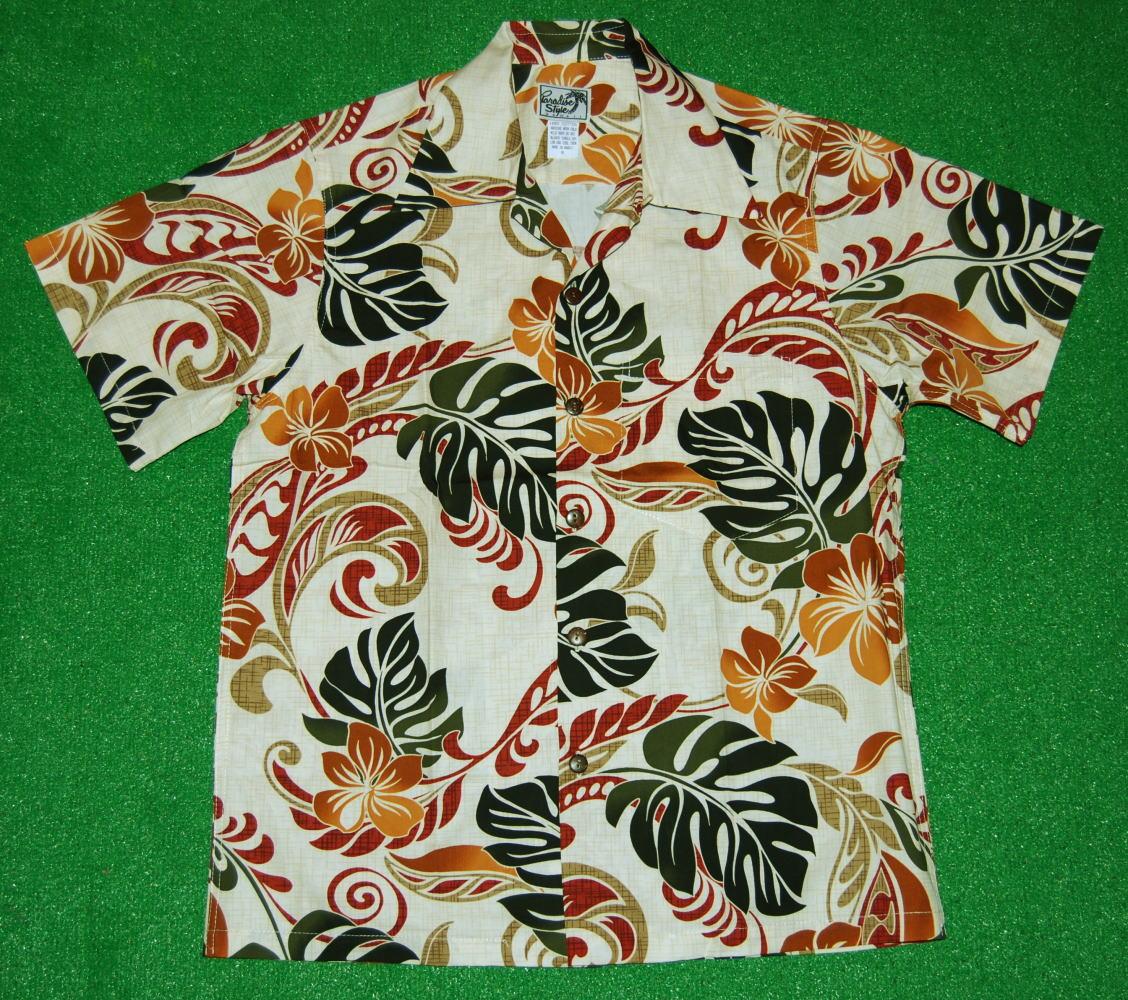 ナチュラルな色合いのコンビネーション アロハシャツ メンズ PARADISE STYLE パラダイス スタイル PSS064 半袖 ホワイト 送料無料 緑色 コットン100% 贈与 花柄 オープンカラー 売買 ライトベージュ 開襟 葉柄 モスグリーン