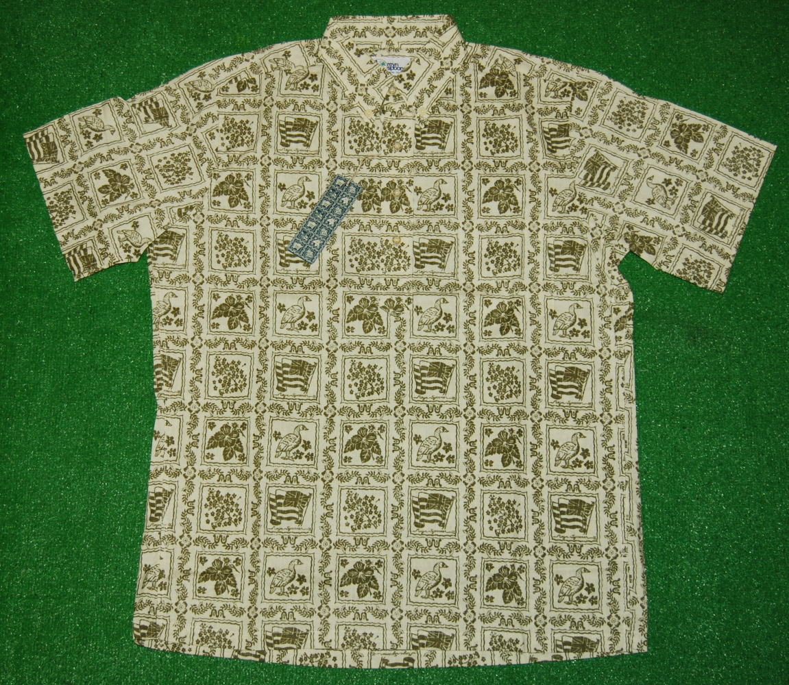 アロハシャツ REYN SPOONER・LAHAINA SAILER(レインスプーナー・ラハイナセイラー) LS021 半袖 オフホワイト メンズ ハワイ州旗 ツートーン コットン55%ポリ45%(スプーナークロス) 裏生地仕様 ボタンダウン(プルオーバー) 送料無料商品
