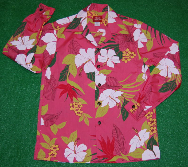 長袖アロハシャツ AKIMI DESIGNS HAWAII(アキミデザインズハワイ) ALONG049 サーモンピンク 花・フラワー柄(ハイビスカス・極楽鳥花・バードオブパラダイス オーバーオールパターン コットン35%ポリ65% 開襟(オープンカラー) 送料無料