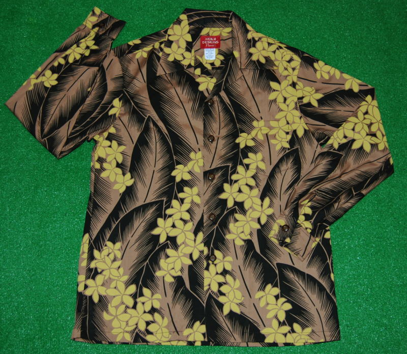 長袖アロハシャツ|AKIMI DESIGNS HAWAII(アキミデザインズハワイ)|ALONG052|ブラック(黒)|ブラウン(茶)|葉・リーフ柄(バナナ)|花・フラワー(プルメリア)|コットン35%ポリ65%|開襟(オープンカラー)|送料無料