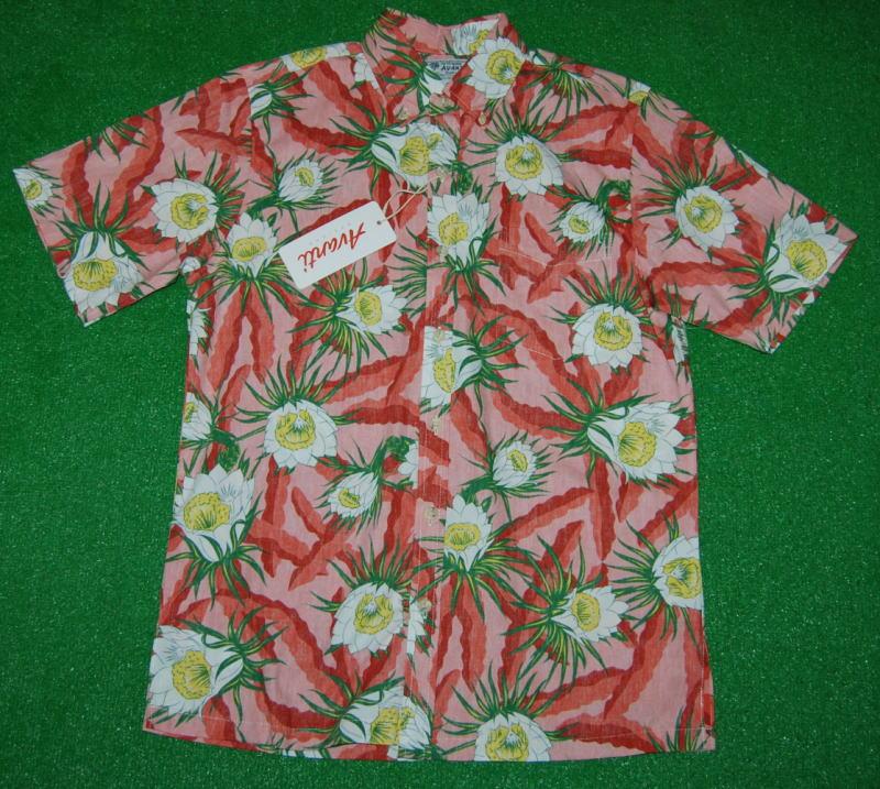 可憐な月下美人のアロハシャツ アロハシャツ AVANTI アヴァンティ AVC012 半袖 メンズ サーモンピンク 花 フラワー柄 プレゼント 購買 サボテン 毎日続々入荷 コットン100% ボタンダウン 裏地 送料無料 南国 フルオープン 月下美人 ハワイアン