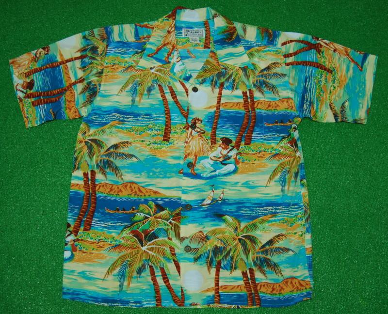 アロハシャツ|AVANTI SILK(アヴァンティ シルク)|A1145BLU|半袖|メンズ|オーシャンブルー|ハワイ|海|レイレディ|フラガール|ヤシの木|ヨット|ダイヤモンドヘッド|レプリカ|ヴィンテージ|シルク100%|開襟(オープンカラー)|送料無料商品