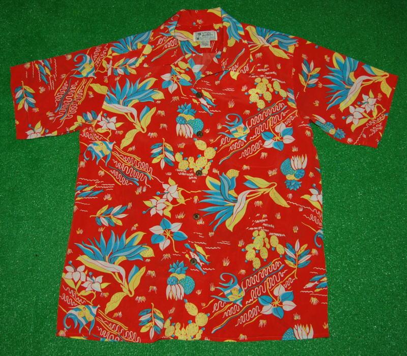アロハシャツ|AVANTI SILK(アヴァンティ シルク)|A1187RD|半袖|メンズ|オレンジレッド|ハワイ|海|花・フラワー|フッシュ・魚|熱帯|ヴィンテージレプリカ|リゾート|シルク100%|開襟(オープンカラー)|送料無料商品