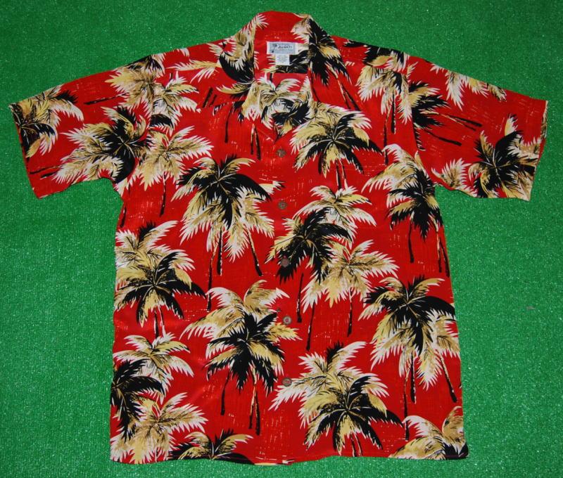アロハシャツ|AVANTI SILK(アヴァンティ シルク)|A1190RD|半袖|メンズ|レッド(赤)|洋柄|ハワイアン|ヤシの木|ココツリー|ヴィンテージレプリカ|シルク100%|開襟(オープンカラー)|送料無料商品