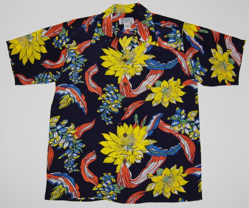 アロハシャツ|AVANTI(アヴァンティ)|A1197NV|半袖|メンズ|ネイビー(紺色)|フラワー|花柄|月下美人|ムーンライトハニー|ハワイアン|ヴィンテージレプリカ|シルク100%|開襟(オープンカラー)|送料無料商品
