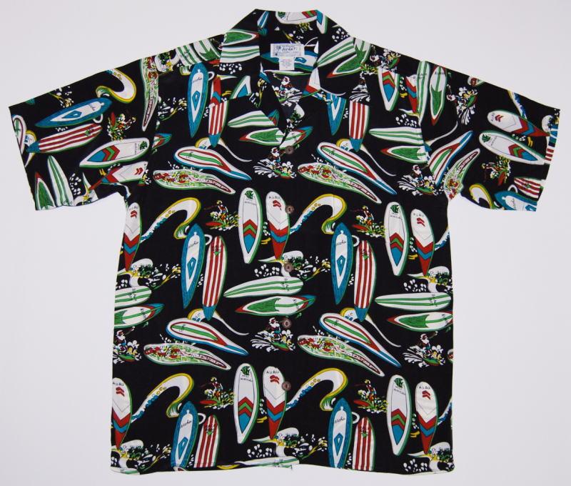 アロハシャツ|AVANTI(アヴァンティ)|A1200BLK|半袖|メンズ|ブラック(黒)|サーフボード|サーフィン|サーファー|波乗り|ハワイアン|海|SEA|ヴィンテージレプリカ|シルク100%|開襟(オープンカラー)|送料無料商品