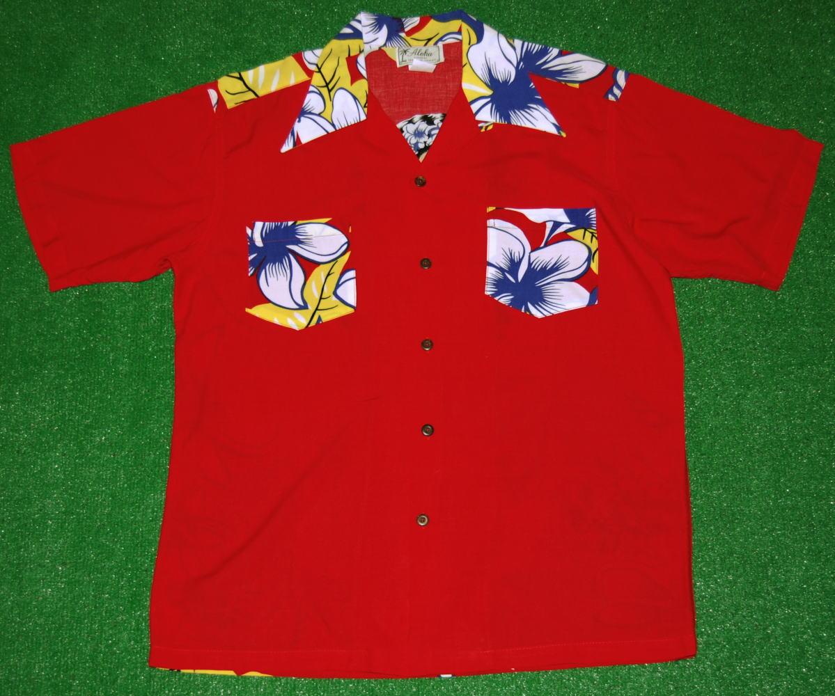アロハシャツ|AVANTI SILK(アヴァンティ シルク)|A862R|半袖|メンズ|レッド(赤色)|フラガール・レイガール・ハワイアン|バックプリント|ヴィンテージレプリカ|レーヨン・シルク100%|開襟(オープンカラー)|送料無料商品