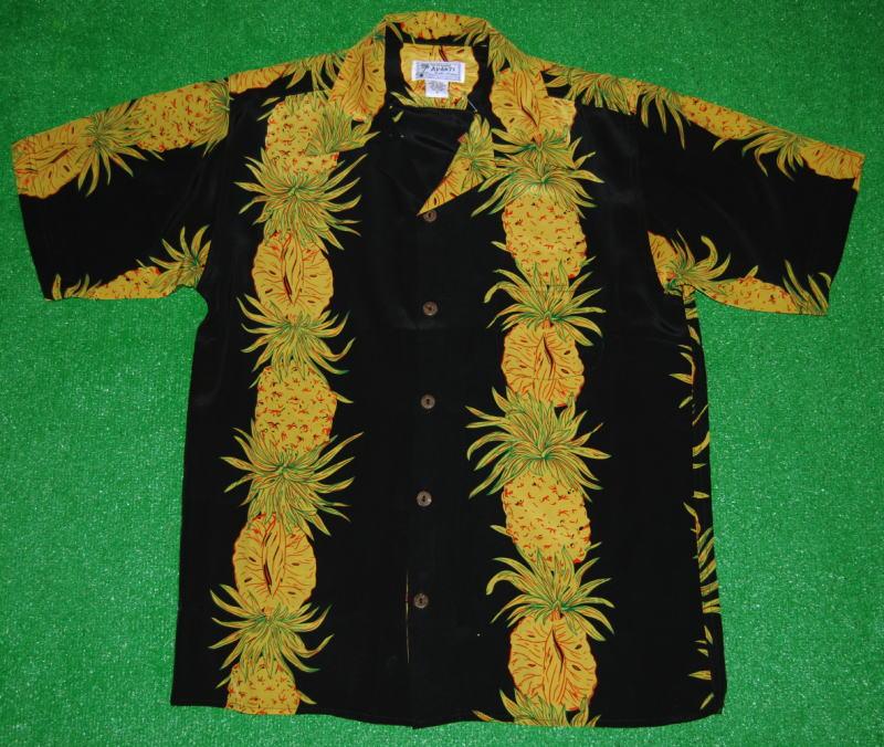 アロハシャツ|AVANTI SILK(アヴァンティ シルク)|A937BK|半袖|メンズ|ブラック(黒)|ハワイ|パイナップル|パイン|フルーツ|果物|南国|ヴィンテージレプリカ|リゾート|ボーダー|シルク100%|開襟(オープンカラー)|送料無料商品