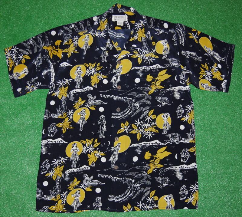 アロハシャツ|AVANTI SILK(アヴァンティ シルク)|A982NV|半袖|メンズ|ネイビー(濃紺)|結婚式|ハワイアン|ヴィンテージレプリカ|シルク100%|開襟(オープンカラー)|送料無料商品