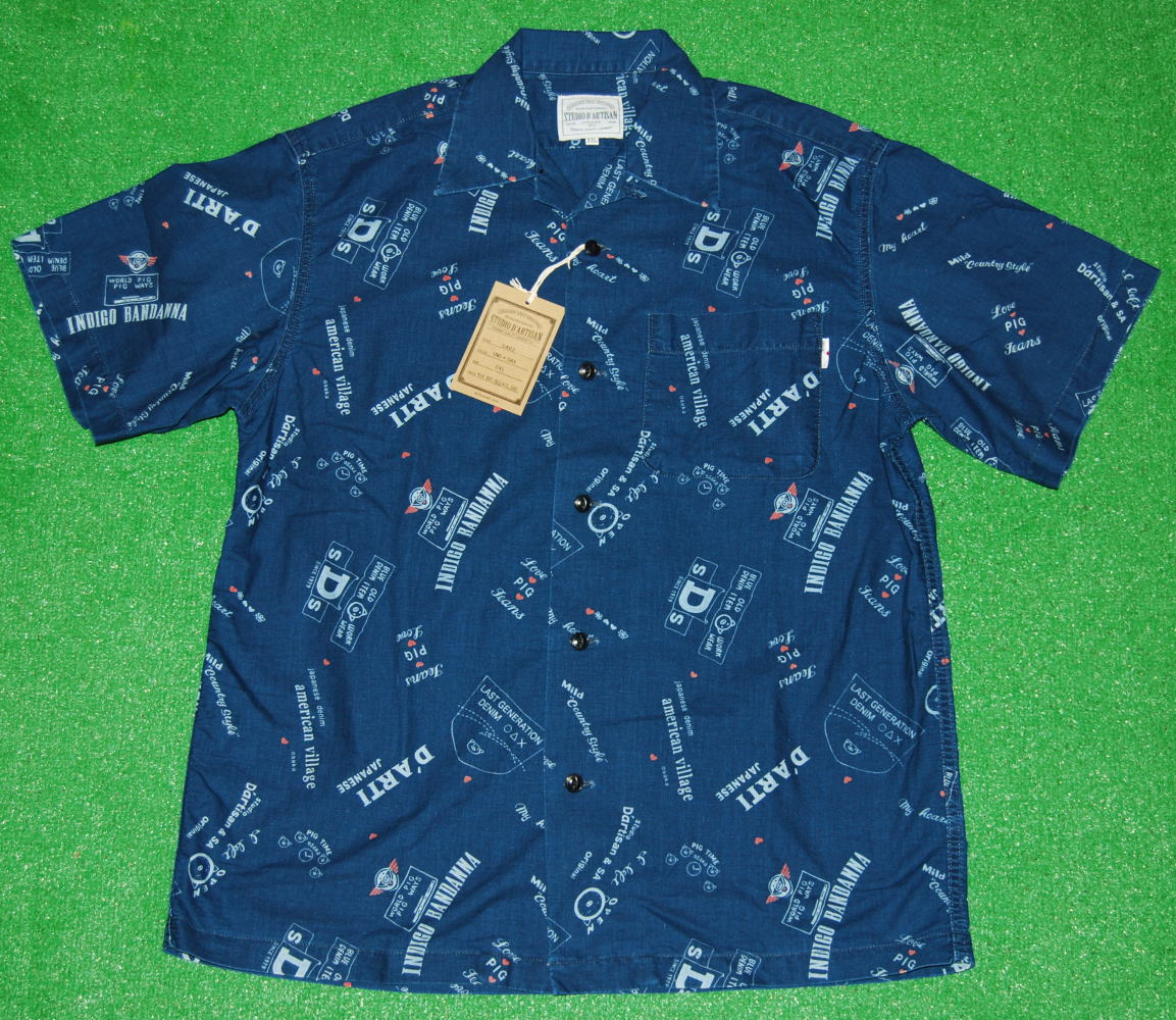 アロハシャツ|STUDIO D'ARTISAN(ステュディオ・ダ・ルチザン)|SD5462SAX|インディゴネイビーブルー(紺・藍色)|サックスブルー(水色)|INDIGO豚柄(ブタ柄)|コットン100%|開襟フロントフルオープン|送料無料商品