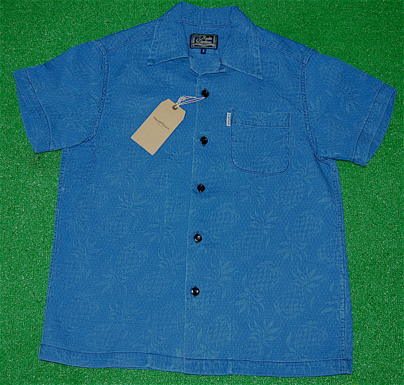 アロハシャツ|STUDIO D'ARTISAN(ステュディオ・ダ・ルチザン)|SD5559UA-PINE|半袖|メンズ|ライトインディゴ(サックスブルー・藍色)|藍染|膨れジャガード|パイナップル|パイン|コットン100%|開襟フロントフルオープン|送料無料商品