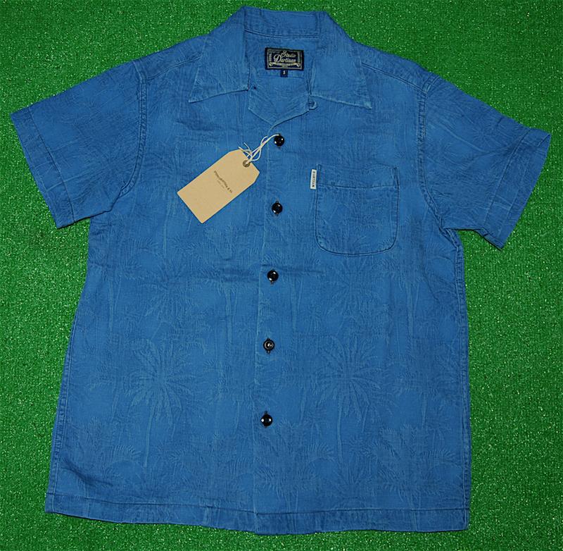 アロハシャツ STUDIO D'ARTISAN(ステュディオ・ダ・ルチザン) SD5559UB-PALM 半袖 メンズ ライトインディゴ(サックスブルー・藍色) 藍染 膨れジャガード ヤシの木 パームツリー コットン100% 開襟フロントフルオープン 送料無料商品
