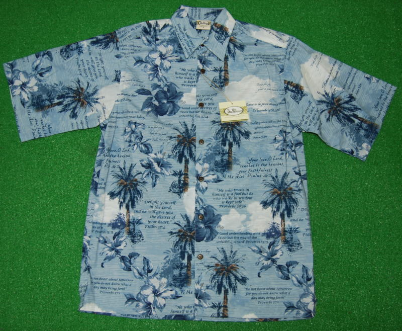 アロハシャツ|GO BAREFOOT(ゴーベアフット)|GB040|半袖|メンズ|スチールブルー|ハワイアン|ヤシの木|花・フラワー柄|海|ハイビスカス|聖書|コットン55%ポリエステル45%(表地)|ノーマルシャツスタイル(フルオープン)|送料無料