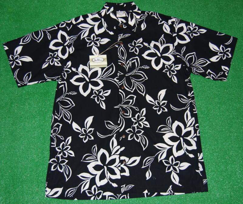 アロハシャツ GO BAREFOOT(ゴーベアフット) GB050 半袖 メンズ ブラック(黒)ハワイアン 花・フラワー柄 おしゃれ プレゼント ツートーン コットン100%(表地) ノーマルシャツスタイル(フルオープン) 送料無料商品