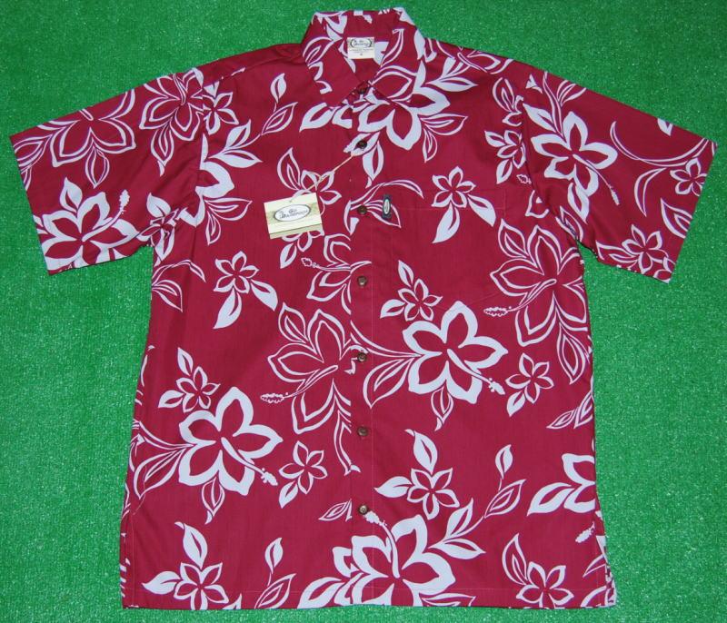 アロハシャツ GO BAREFOOT(ゴーベアフット) GB051 半袖 メンズ バーガンディー(ワイン色) ハワイアン 花・フラワー柄 おしゃれ プレゼント ツートーン コットン100%(表地) ノーマルシャツスタイル(フルオープン) 送料無料商品