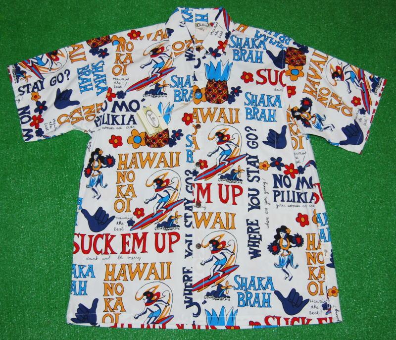 アロハシャツ GO BAREFOOT(ゴーベアフット) GB057 半袖 メンズ ホワイト(白) ハワイアンモチーフ 文字柄 おしゃれ プレゼント コットン100%(表地) ノーマルシャツスタイル(フルオープン) 送料無料商品