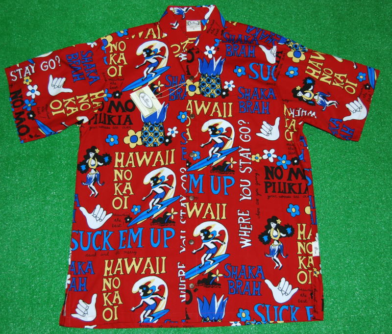 アロハシャツ GO BAREFOOT(ゴーベアフット) GB058 半袖 メンズ レッド(赤) ハワイアンモチーフ 文字柄 おしゃれ プレゼント コットン100%(表地) ノーマルシャツスタイル(フルオープン) 送料無料商品