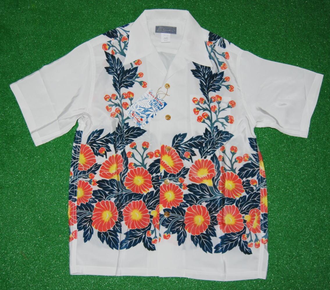 アロハシャツ|HINAHINA(ヒナヒナ)|半袖|HH006WHT|ホワイト(白・アイボリー)|メンズ|花柄(アサガオ・朝顔柄)|ホリゾンタルパターン|シルク100%|開襟(オープンカラー)|送料無料商品