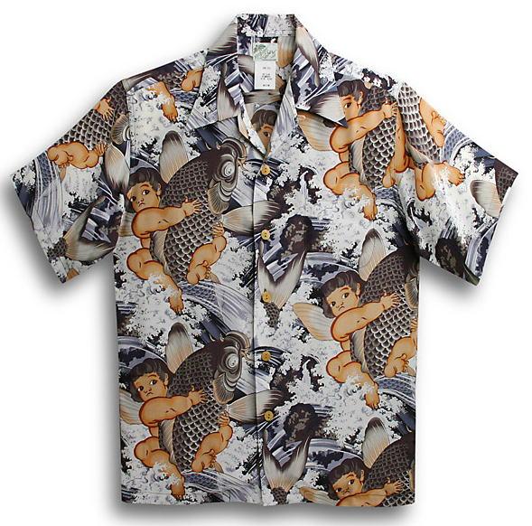 半袖アロハシャツ|LALAKAI(ララカイ)|HL025BK|ブラック(黒)|グレー(シルバー・灰色)|メンズ|和柄|金太郎柄|鯉柄|子供の日|節句|シルク100%|開襟(オープンカラー)|送料無料商品