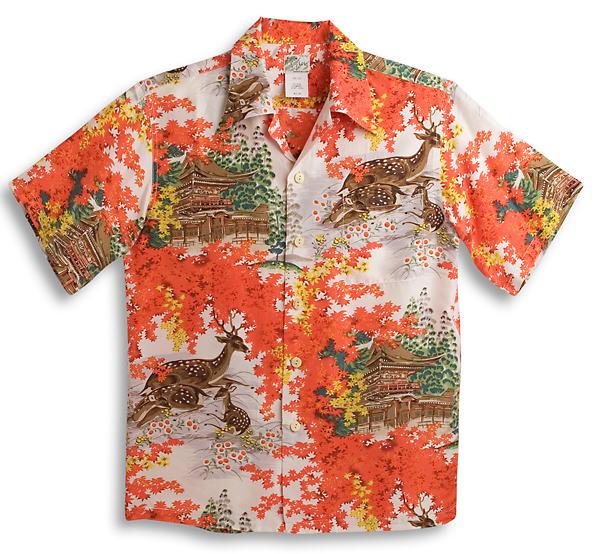 半袖アロハシャツ LALAKAI(ララカイ) HL044RD レッド(赤) オレンジ 鹿柄・紅葉・金閣寺・京都 メンズ 和柄 シルク100% 開襟(オープンカラー) 送料無料商品