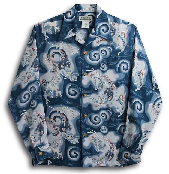 長袖アロハシャツ MAKANA LEI(マカナレイ) AMT009SPLN ネイビー 和柄 メンズ 龍柄 シルク(膨れジャガードシルク)100% 開襟(オープンカラー) 送料無料商品