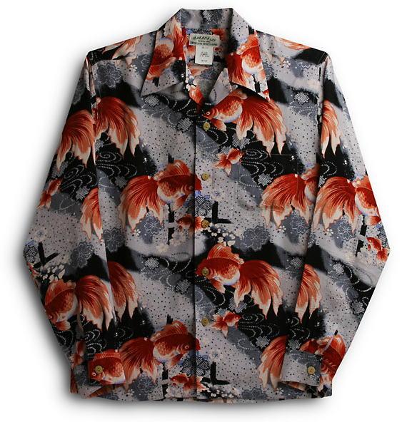 長袖アロハシャツ|MAKANA LEI(マカナレイ)|AMT017SPLB|ブラック|メンズ|和柄|金魚柄|シルク(膨れジャガードシルク)100%|開襟(オープンカラー)|送料無料商品