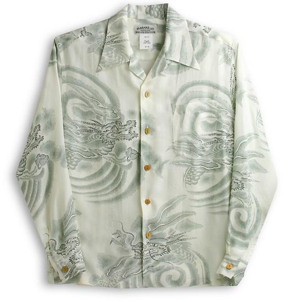 長袖アロハシャツ|MAKANA LEI(マカナレイ)|AMT021SPLG|グリーン|和柄|龍柄|シルク(膨れジャガードシルク)100%|開襟(オープンカラー)|送料無料商品