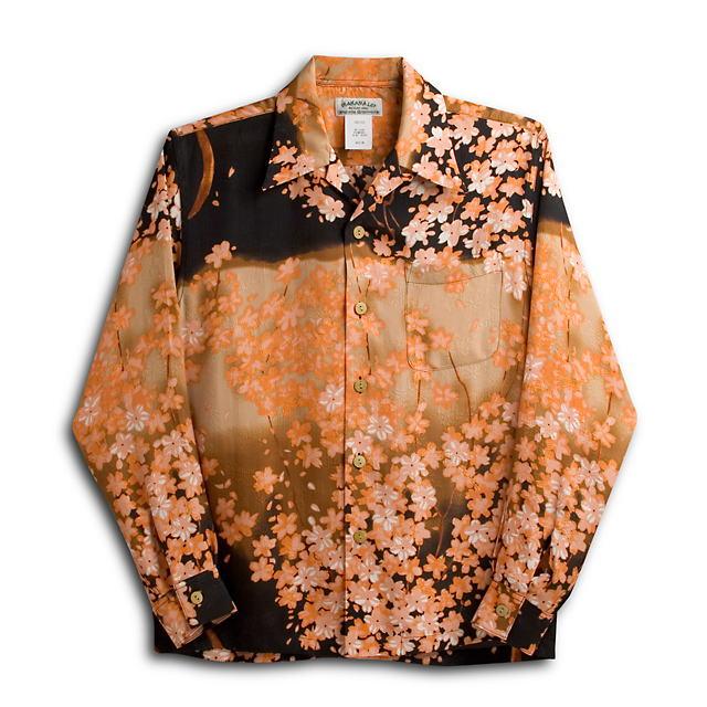 長袖アロハシャツ MAKANA LEI(マカナレイ) AMT027SPLOR オレンジ メンズ 和柄 花柄(桜) シルク(膨れジャガードシルク)100% 開襟(オープンカラー) 送料無料商品