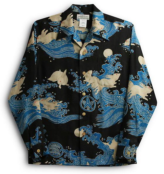長袖アロハシャツ|MAKANA LEI(マカナレイ)|AMT029SPLB|ブラック|メンズ|和柄|兎・波柄|シルク(膨れジャガードシルク)100%|開襟(オープンカラー)|送料無料商品
