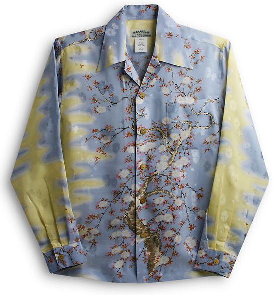 長袖アロハシャツ MAKANA LEI(マカナレイ) AMT051EXLS サックス(水色) 和柄 桜柄 シルク(平織りジャガードシルク)100% 開襟(オープンカラー) 送料無料商品