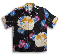 半袖アロハシャツ|メンズ半袖|MAKANA LEI(マカナレイ)|AMT037SPBK|ブラック(黒)|和柄|金魚柄(きんぎょ)|オーバーオールパターン|シルク(膨れジャガードシルク)100%|開襟(オープンカラー)|送料無料商品