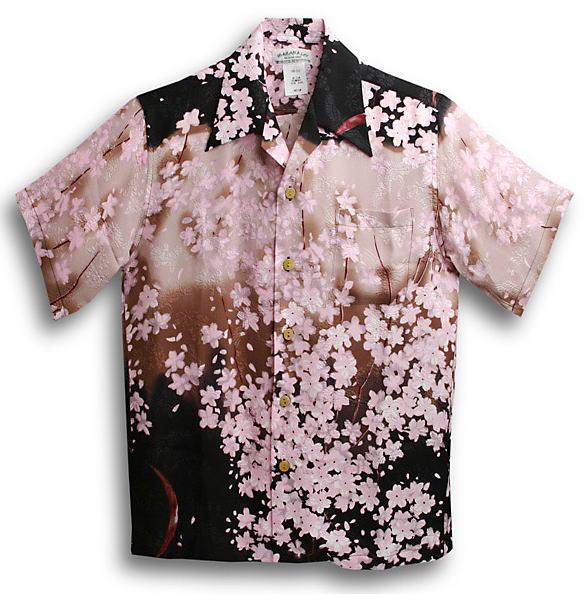 半袖アロハシャツ|メンズ半袖|MAKANA LEI(マカナレイ)|AMT027SPWN|ワイン(ピンク)|ブラック(黒)|和柄|桜柄|オーバーオールパターン|シルク(膨れジャガードシルク)100%|開襟(オープンカラー)|送料無料商品