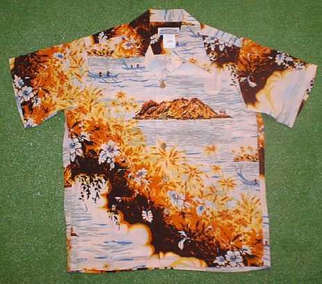 半袖アロハシャツ|MAKANA LEI(マカナレイ)|AMT012B|ブラウン(茶色)|メンズ|洋柄|島・オーシャン・海柄|ハイビスカス柄|シルク100%|開襟(オープンカラー)|送料無料商品