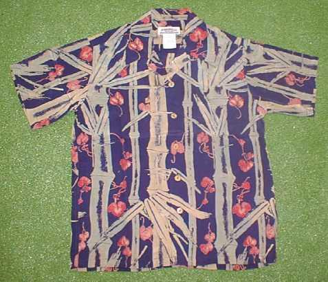 半袖アロハシャツ|MAKANA LEI(マカナレイ)|AMT014N|ネイビー・ロイヤルブルー・インディゴ(青紺)|メンズ|和柄|竹柄|シルク100%|開襟(オープンカラー)|送料無料商品