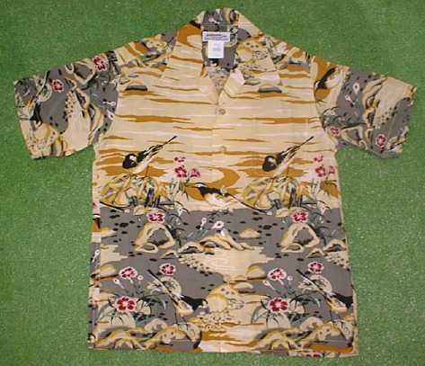 半袖アロハシャツ|MAKANA LEI(マカナレイ)|AMT018C|クリーム(ライトベージュ)|メンズ|和柄|鳥・野鳥柄|シルク100%|開襟(オープンカラー)|送料無料商品