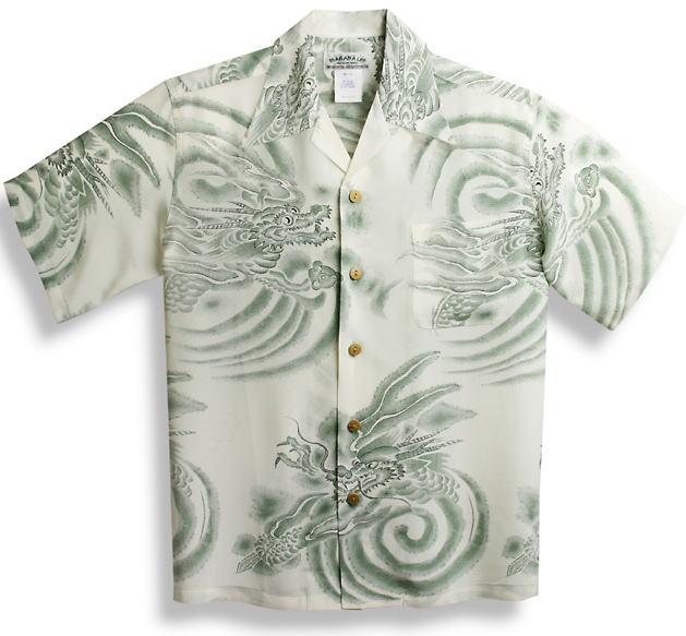 半袖アロハシャツ|メンズ半袖|MAKANA LEI(マカナレイ)|AMT021SPG|グリーン(緑)|ホワイト(白)|和柄|雲竜柄(ドラゴン)|オーバーオールパターン|シルク(膨れジャガードシルク)100%|開襟(オープンカラー)|送料無料商品