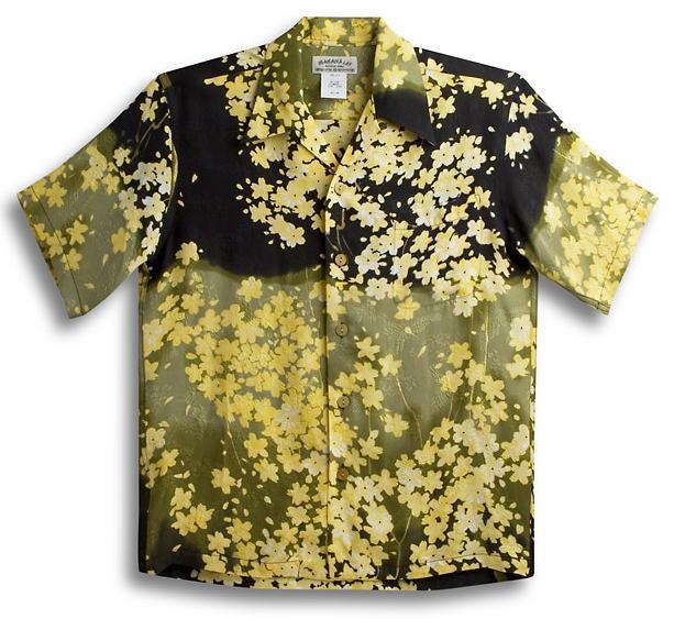 半袖アロハシャツ|メンズ半袖|MAKANA LEI(マカナレイ)|AMT027SPNOV|オリーブ(グリーン・黄緑色)|ブラック(黒)|和柄|桜柄|オーバーオールパターン|シルク(膨れジャガードシルク)100%|開襟(オープンカラー)|送料無料商品