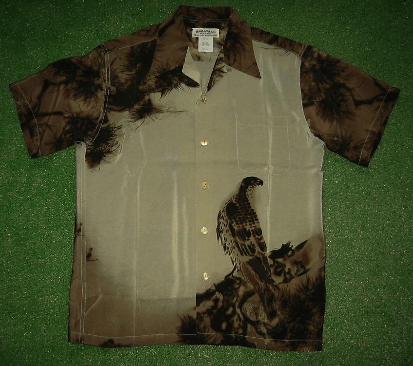 半袖アロハシャツ MAKANA LEI(マカナレイ) AMT030B ブラウン(茶) メンズ 和柄 鳥・ワシ・コンドル柄 松柄 シルク100% 開襟(オープンカラー) 送料無料商品