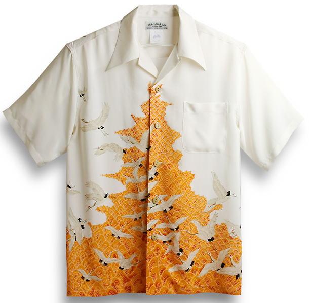 半袖アロハシャツ|MAKANA LEI(マカナレイ)|AMT040O|オレンジ・ホワイト(白)|メンズ|和柄|鶴柄|波柄|シルク100%|開襟(オープンカラー)|送料無料商品