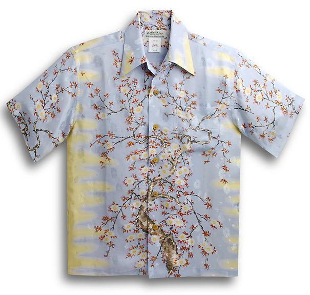 半袖アロハシャツ|MAKANA LEI(マカナレイ)|AMT051EXS|サックスブルー(水色)|和柄|さくら・桜柄|シルク(平織りジャガードシルク)100%|開襟(オープンカラー)|送料無料商品