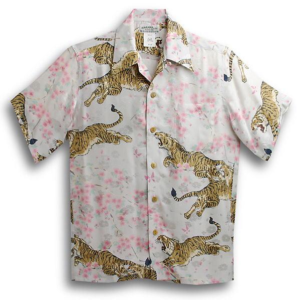 半袖アロハシャツ|MAKANA LEI(マカナレイ)|AMT052EXI|アイボリーホワイト(白)|和柄|さくら・桜・虎・タイガー柄|シルク(平織りジャガードシルク)100%|開襟(オープンカラー)|送料無料商品