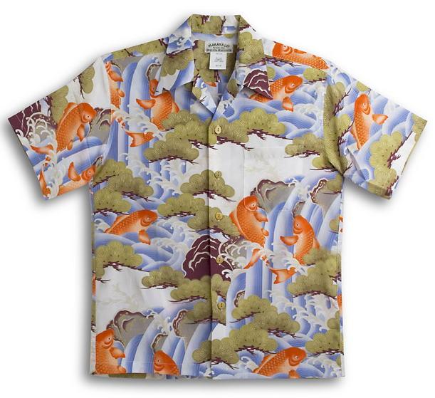 半袖アロハシャツ MAKANA LEI(マカナレイ) AMT054IV アイボリー(白) メンズ 和柄 鯉・滝・松柄 シルク100% 開襟(オープンカラー) 送料無料商品