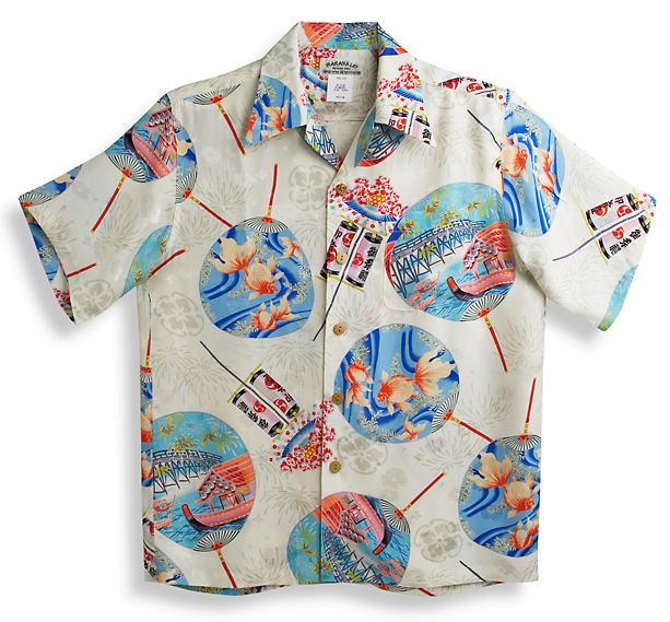 半袖アロハシャツ|MAKANA LEI(マカナレイ)|AMT062EXIV|アイボリー(白)|和柄|うちわ柄・金魚柄・屋形船柄|シルク(平織りジャガードシルク)100%|開襟(オープンカラー)|送料無料商品