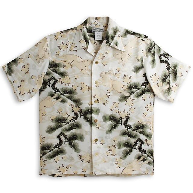 半袖アロハシャツ|MAKANA LEI(マカナレイ)|AMT072EXIV|アイボリー(白・オフホワイト)|和柄|ウサギ柄・松柄|シルク(平織りジャガードシルク)100%|開襟(オープンカラー)|送料無料商品
